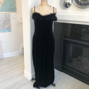 Vintage Y2k Georgiou Studio dress boa trim black